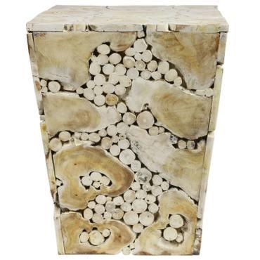 Hocker Massiv Teakholz Natur Stuhl Wurzel Block Holz Klotz Konisch Weiß 40x40cm – Bild 2