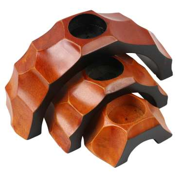 Teelichthalter Kerzenhalter Deko Mango Holz Teelicht Bogen 3er Set Thai Orange Nr. 2 – Bild 1