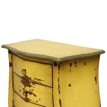 Vintage Kommode Antik Look Schubladenschrank Gelb Massiv Shabby Barock 112 cm – Bild 3