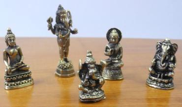 Elefantengott Shiva Figur Buddha Ganesha Messing gold-farbig set 4 – Bild 1