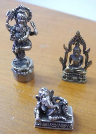 Elefantengott Shiva Figur Buddha Ganesha Messing gold silber-farbig set 34 – Bild 2