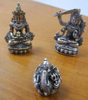 Messing Figuren Shiva Buddha Ganesha & Co 5er Set 36 – Bild 2