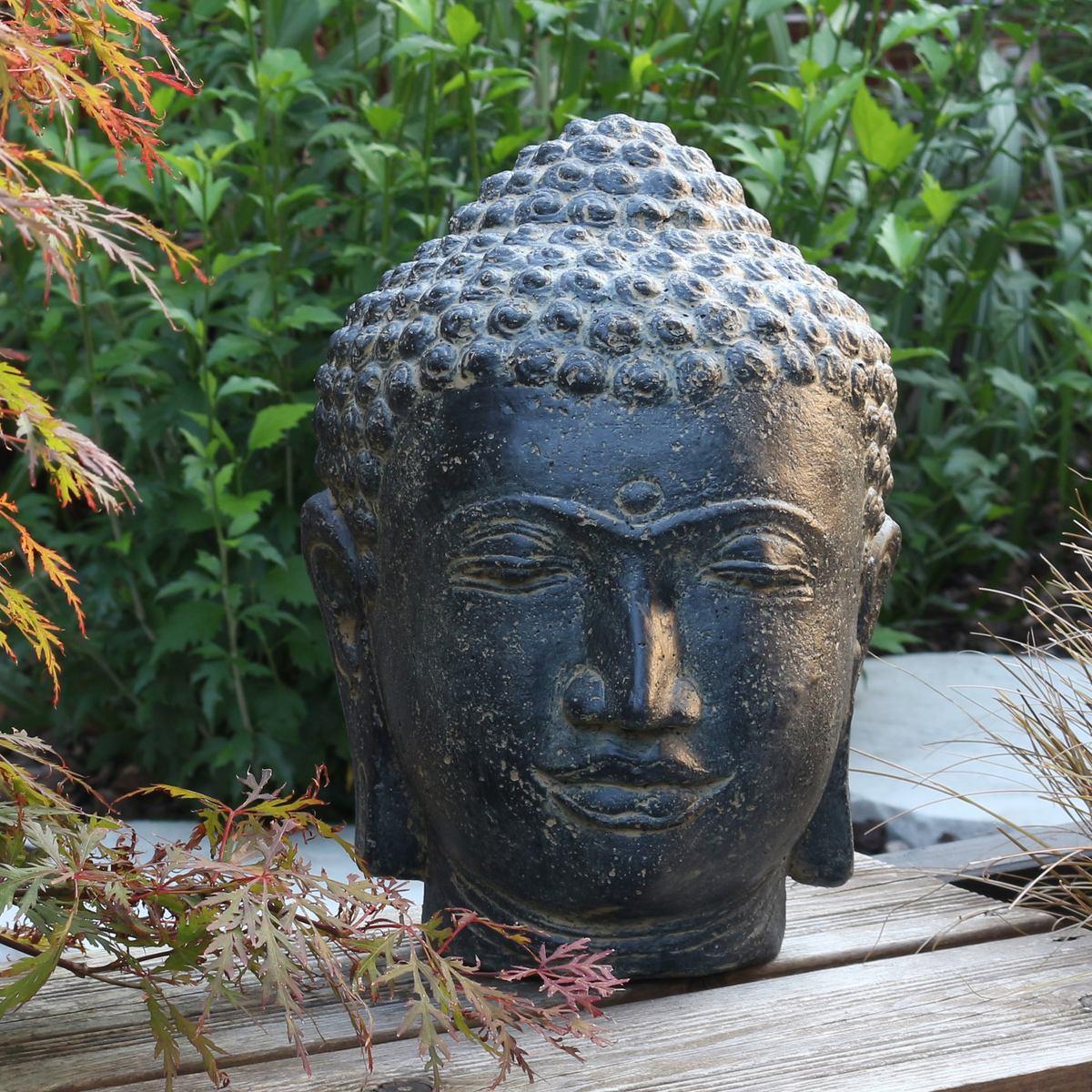 Buddha Kopf Deko.Buddha Kopf Head Steinfigur Skulptur Stein Lavasand Bali Garten Deko 33cm Oriental Galerie