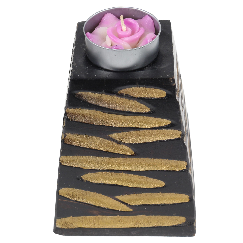 teelichthalter kerzenhalter deko mango holz teelicht thailand turm schwarz gold 10 cm. Black Bedroom Furniture Sets. Home Design Ideas