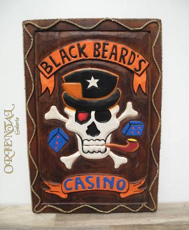 Wandbild Bild Holzschnitzerei Black Beards Casino Poker Totenkopf Holz 63cm – Bild 1