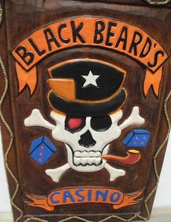 Wandbild Bild Holzschnitzerei Black Beards Casino Poker Totenkopf Holz 63cm – Bild 3
