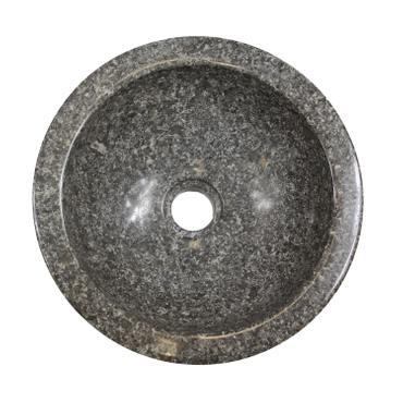 Marmor Waschbecken Handwaschbecken Wasch Becken Aufsatzwaschbecken Bad 33cm Stein Rund Grau Nr. 9 – Bild 3
