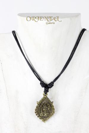 Shiva Buddha Kali Ganesha Anhänger Lederkette Halsband Messing gold-farbig – Bild 1