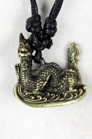 Shiva Buddha Ganesha Drachen Anhänger Lederkette Halsband Messing gold-farbig – Bild 1