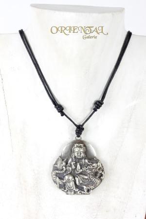 Shiva Buddha Kali Ganesha Anhänger Lederkette Halsband Bronze versilbert – Bild 1