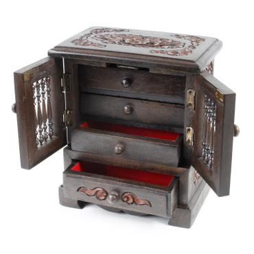 Schmuckschrank Schmuckschatulle Schränkchen Schmuckkasten Aufbewahrung Behälter Holz Kästchen 24 cm – Bild 5