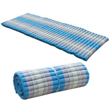 Liegematte Rollmatte Yogamatte Rollmatratze Thaimatte ca. 200x100 cm Matte Liege Kapokmatte Baumwolle Kapok Türkis Grau KRG3 001