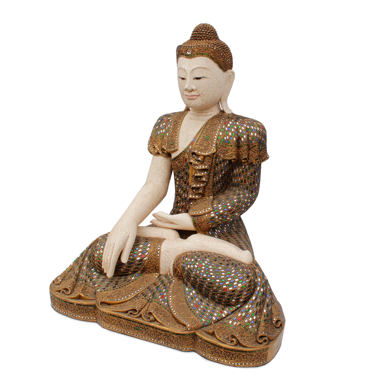 buddha statue sitzend figur 100 cm holz gold glas mosaik meditierend gold skulptur. Black Bedroom Furniture Sets. Home Design Ideas