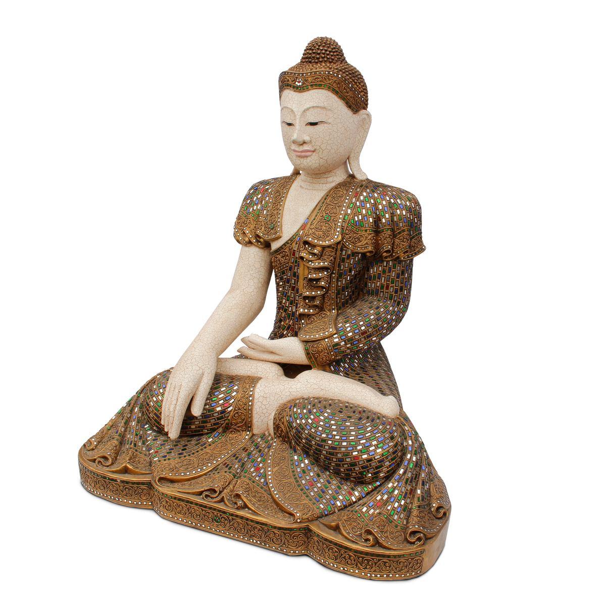 buddha statue sitzend figur 100 cm holz gold glas mosaik. Black Bedroom Furniture Sets. Home Design Ideas