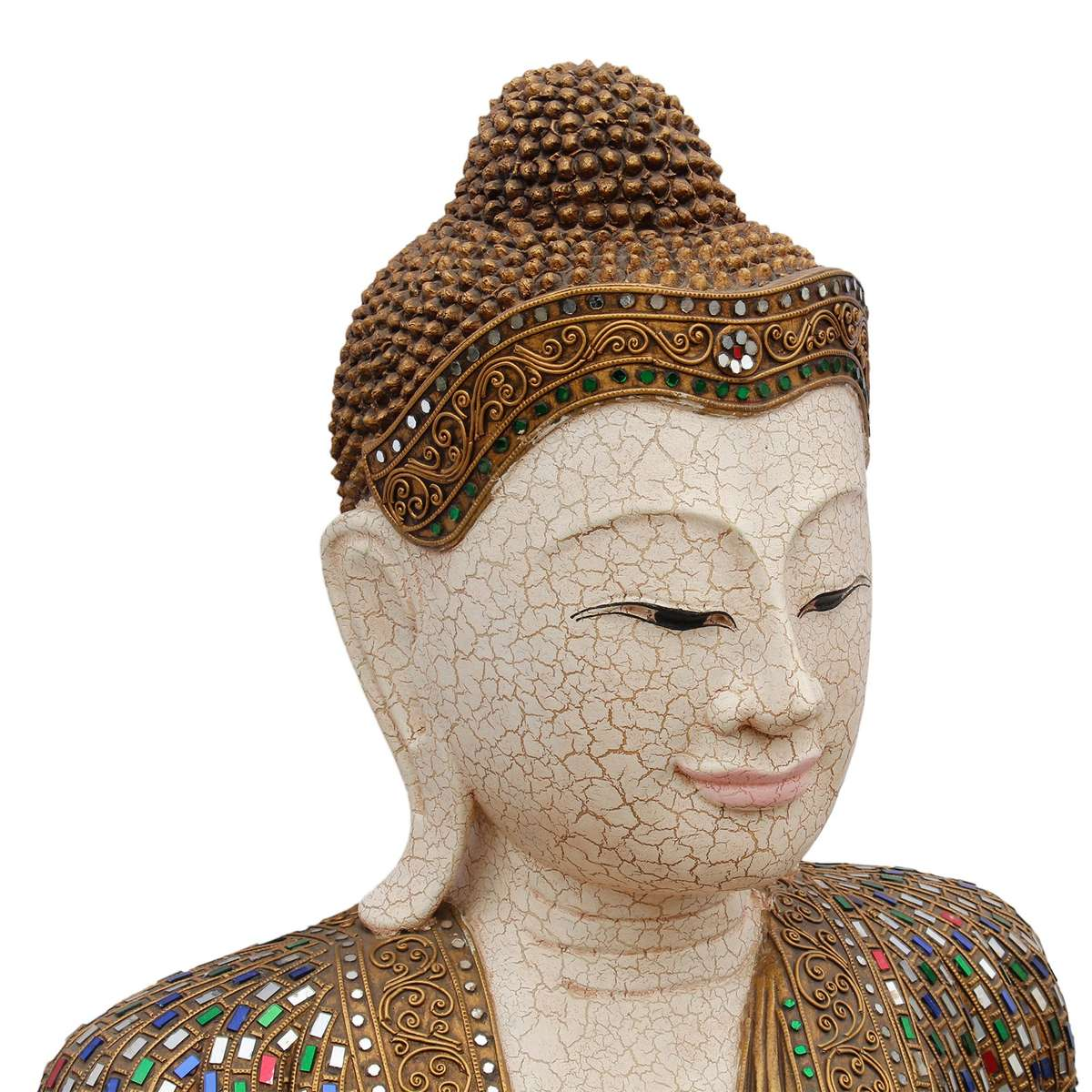 buddha statue sitzend figur 100 cm holz gold glas mosaik meditierend gold skulptur dekoration. Black Bedroom Furniture Sets. Home Design Ideas