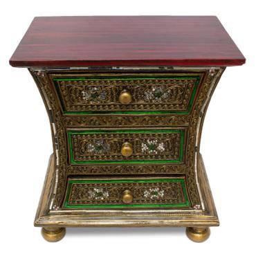 Kommode Schrank Schränkchen Dielenschrank Antik Wohnzimmerschrank Mosaik ca. 50 cm Gold Rot Grün Holz Spiegel  – Bild 6