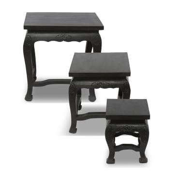 Opium Hocker Tisch Holzhocker Beistelltisch Nachttisch Blumenhocker Eckig Akazien Holz Barock Massiv – Bild 2