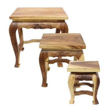 Opium Hocker Tisch Holzhocker Beistelltisch Nachttisch Blumenhocker Eckig Akazien Holz Barock Massiv – Bild 3