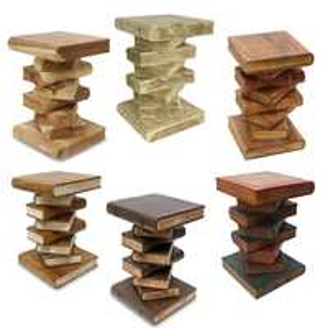 Nachttisch Beistelltisch Bücherhocker Tisch Hocker Buch Stapel Holz 50cm Groß Inkl. Südostasien Bildband als PDF Datei