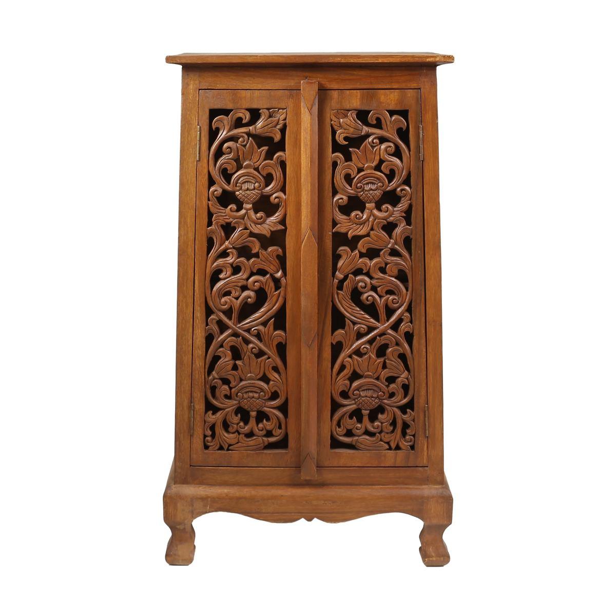 Flurschrank 100cm Braun Barock Holz Dielen Schrank Wohnzimmer Akazie Blumen Muster Verzierung
