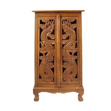 Flurschrank 100cm Braun Barock Holz Dielen Schrank Wohnzimmer Akazie Drache Muster Verzierung – Bild 1