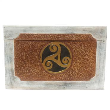Truhe mit keltischem Sonnenrad Motiv Kiste Holztruhe Aufbewahrung Box Braun Creme Weiß – Bild 5