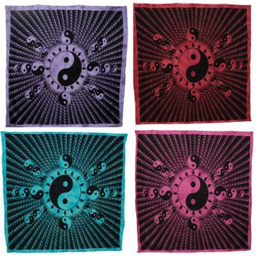 Tagesdecke Yin Yang Bettüberwurf Laken Überwurf Wandbehang Wandtuch Baumwolltuch Goa Tuch 210x230 cm Baumwolle – Bild 1