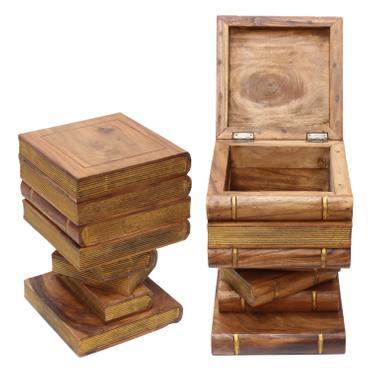 Bücherhocker Nachttisch Hocker Holzhocker Bücherkiste Kiste Truhe Bücherstapel Design ca. 30x30 cm 50cm hoch Holz Akazienholz  – Bild 4