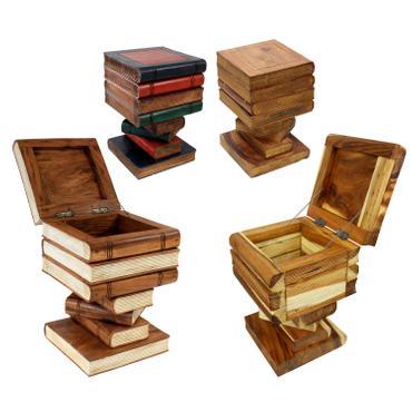 Bücherhocker Nachttisch Hocker Holzhocker Bücherkiste Kiste Truhe Bücherstapel Design ca. 30x30 cm 50cm hoch Holz Akazienholz