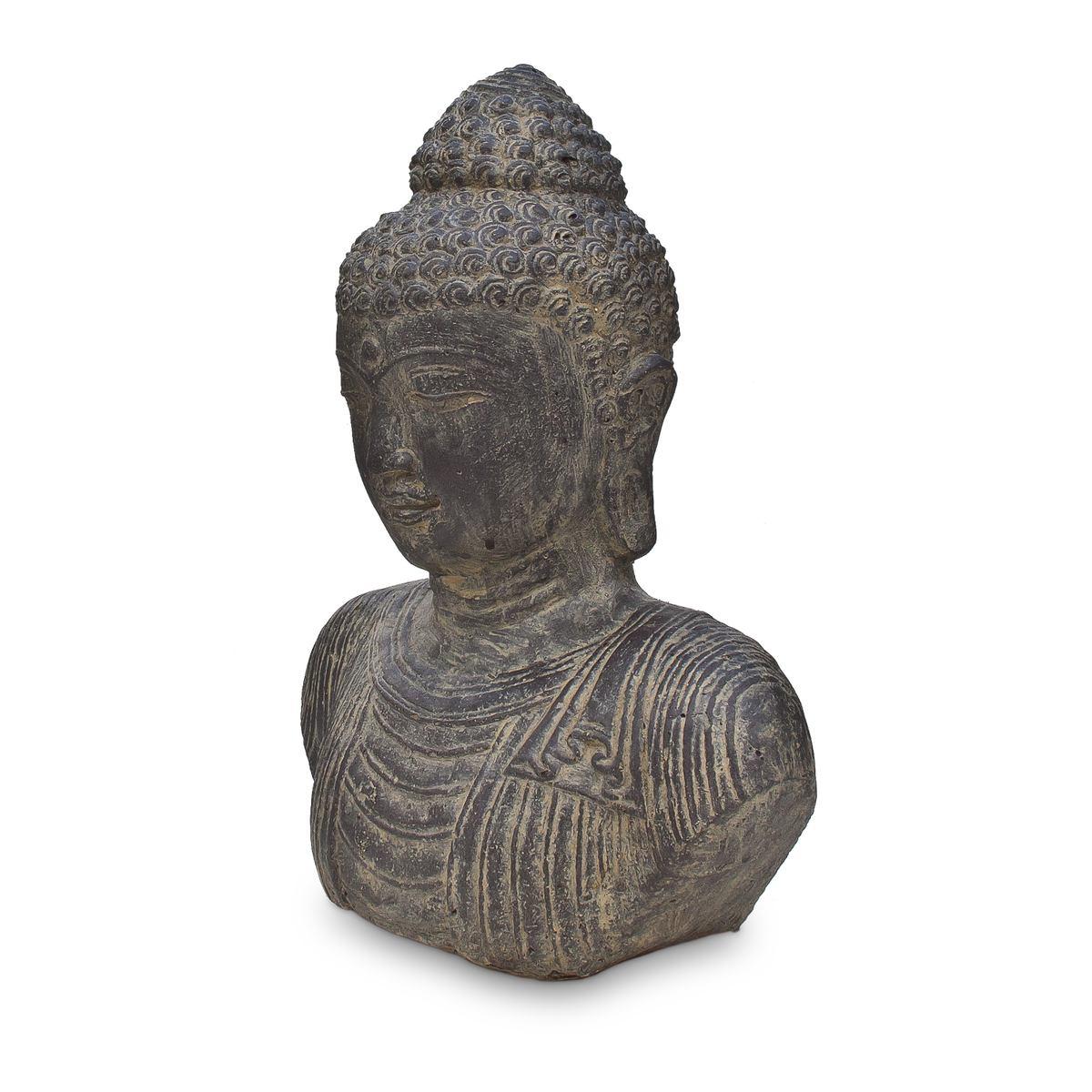 buddha b ste kopf head figur skulptur stein lavasand bali garten deko 40cm. Black Bedroom Furniture Sets. Home Design Ideas