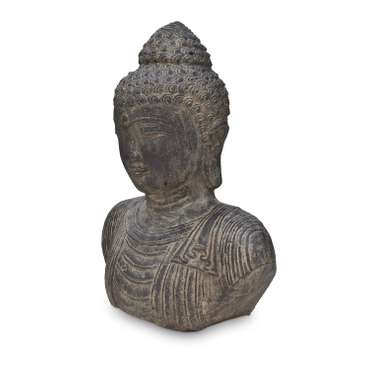 Buddha Büste Kopf Head Figur Skulptur Stein Lavasand Bali Garten Deko 40cm – Bild 3