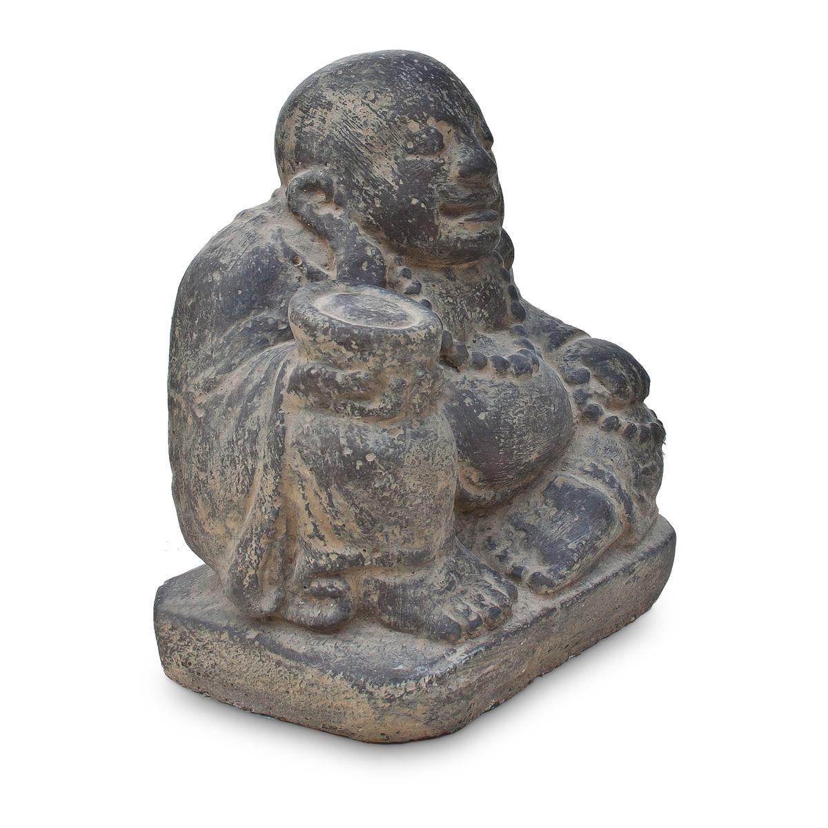 happy buddha stein figur skulptur lavasand bali gott. Black Bedroom Furniture Sets. Home Design Ideas