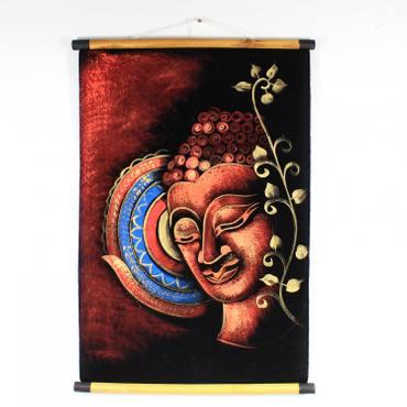 Wandbild Gemälde Stoffbild Wandbehang Rollbild Samt Deko Buddha Buddhismus Hinduismus Asien Kunst ca. 70x50 cm Glitzer Rot Blau Indien Nr. 13