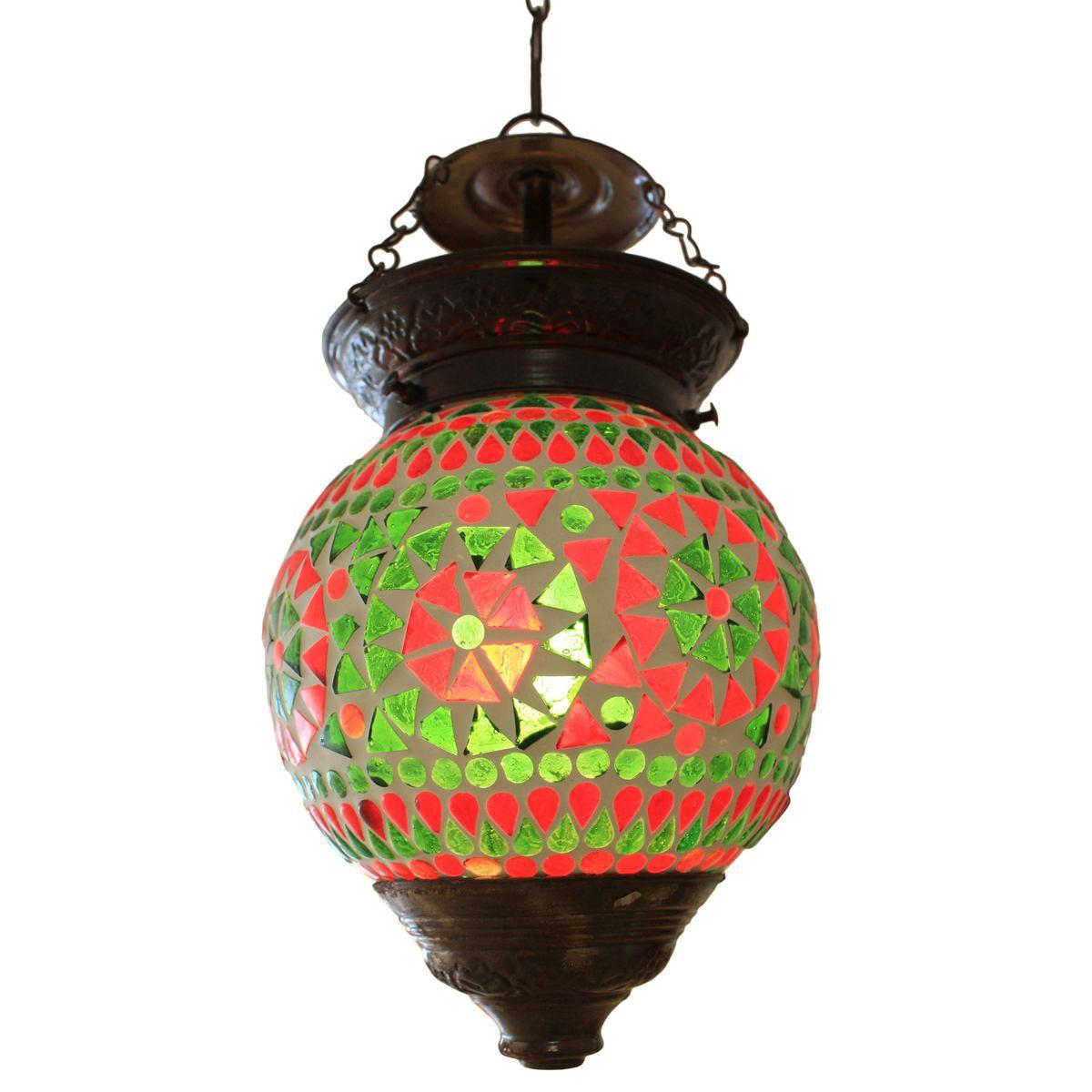 Lampe h ngeleuchte leuchte mosaik rund orientalisch dekoleuchte gr n orange 14 cm nr 5 lampen for Mosaik lampe orientalisch