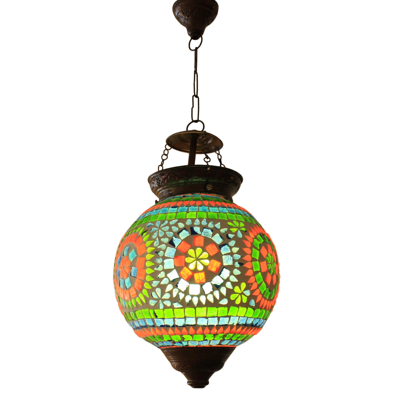 h ngeleuchte lampe leuchte mosaik rund dekoleuchte 20 cm gr n orange blau ebay. Black Bedroom Furniture Sets. Home Design Ideas