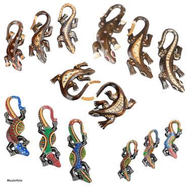 2er/3er Set Echsen Geckos Eidechse Wanddeko Dekoration 15/18/20/30 cm Holz