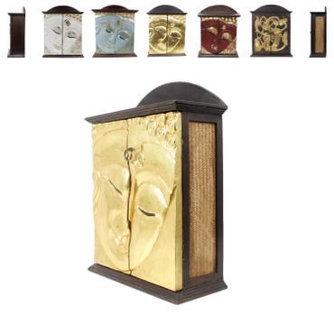 Hängeschrank Holzschrank Schrank Wandschrank Blattgold Schnitzerei Asien Thailand 24 Karat ca. 65cm Akazien Holz Braun – Bild 4
