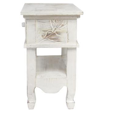 Nachttisch mit Blumen Schnitzereien Schränkchen Schrank Nachtkommode mit Schublade rustikal Asien Weiß ca. 50 cm – Bild 5