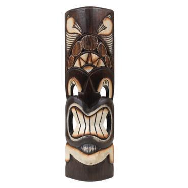 Hawaiianische Maske Hawaiimaske Tikimaske Dekomaske Wandmaske Deko 50cm Holz Tiki – Bild 14