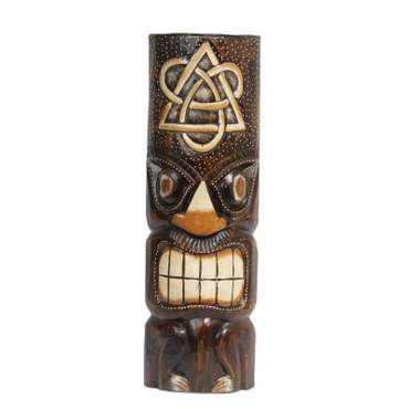 Hawaiianische Maske Hawaiimaske Tikimaske Dekomaske Wandmaske Deko 50cm Holz Tiki – Bild 10