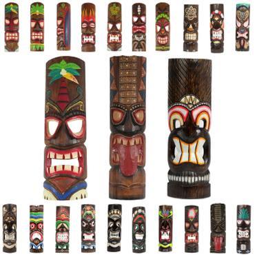 Hawaiianische Maske Hawaiimaske Tikimaske Dekomaske Wandmaske Deko 50cm Holz Tiki – Bild 1