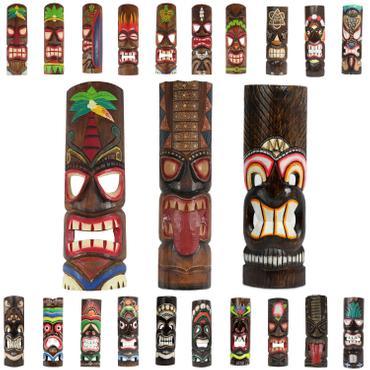 Hawaiianische Maske Hawaiimaske Tikimaske Dekomaske Wandmaske Deko 50cm Holz Tiki 001
