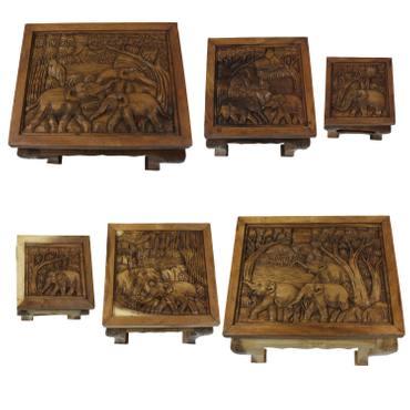 Beistelltisch mit Glas Nachttisch Holztisch Glastisch Opiumtisch Tisch Schnitzereien Elefant Asien – Bild 2