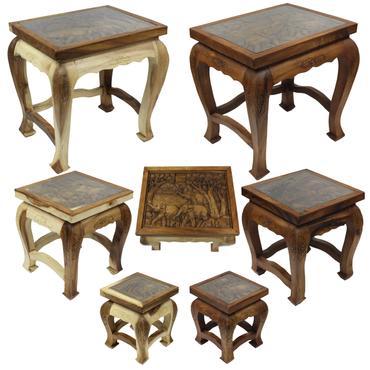 Beistelltisch mit Glas Nachttisch Holztisch Glastisch Opiumtisch Tisch Schnitzereien Elefant Asien