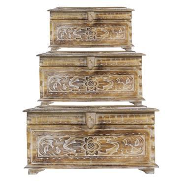 Holztruhe mit Schnitzereien Schmuckkiste Schatztruhe Schatzkiste Holz Kiste Box Dose Truhe Aufbewahrung Blumen Palmenholz – Bild 2