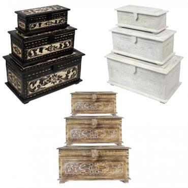 Holztruhe mit Schnitzereien Schmuckkiste Schatztruhe Schatzkiste Holz Kiste Box Dose Truhe Aufbewahrung Blumen Palmenholz – Bild 1