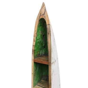 Holzregal aus altem Fischerboot Bootsregal Regal Teakholz Massiv ca. 211 cm 100 % recyceltes Boot Grün Weiß Schwarz Shabby Antik Look Nr. 11 – Bild 6