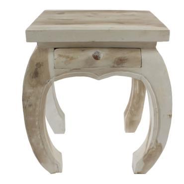Nachttisch Opiumtisch Schublade 40 x 40 cm Massiv Beistelltisch Hocker Holz Tisch Wohnzimmer Weiß Shabby Chic