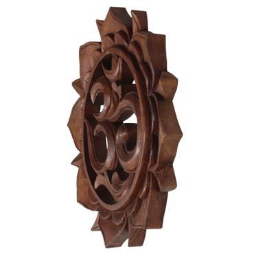"""Om Symbol """"Aum"""" Zeichen Mandala Relief Mantra Sanskrit Devanagari Deko Soar Holz Rund – Bild 3"""