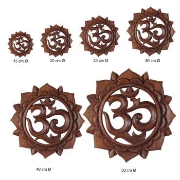 """Om Symbol """"Aum"""" Zeichen Mandala Relief Mantra Sanskrit Devanagari Deko Soar Holz Rund"""